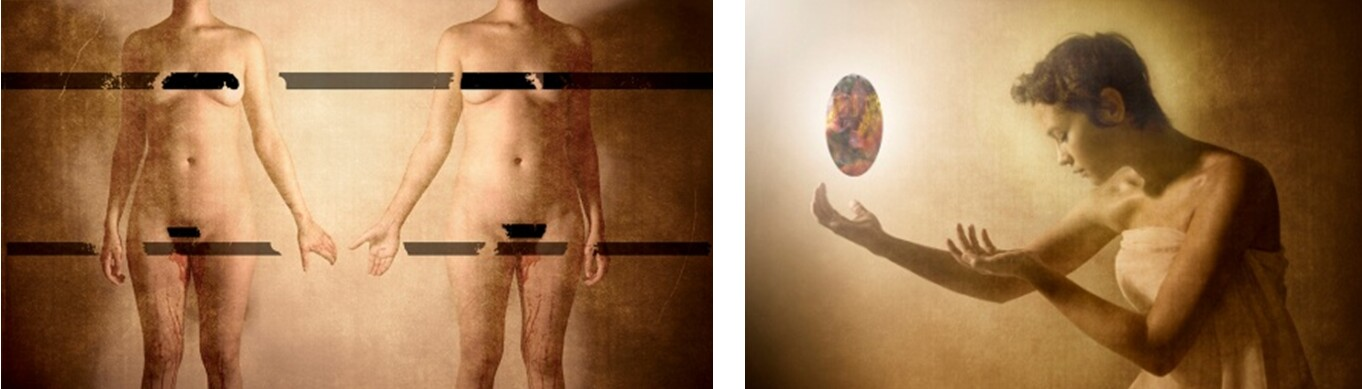 Blood History/Self Portraits, 2011, digital prints (diptych): Left: Baby Go Boom, 38 x 52 in.; Right: Surrender, 24 x 30 in.