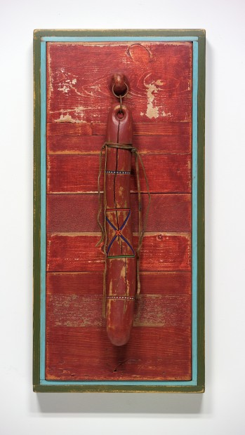 """Ancestral Object - A Persistence of Memory (1994-08), acrylic on wood, metal, beads, leather, 32"""" h. x 15"""" w."""