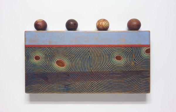 "Sympathetic Beliefs - True Assumptions (2012-16) wood, ink and acrylic on wood, 20½"" h. x 34"" w. x 4"" d."