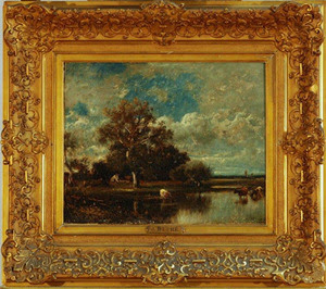 Jules Dupre (French, 1811-1889) Untitled [Landscape, Trees, Pond with Cows] ca. 1860 Oil, 12 ½ x 16 in. Gift of Dr. Kenneth Wheeler
