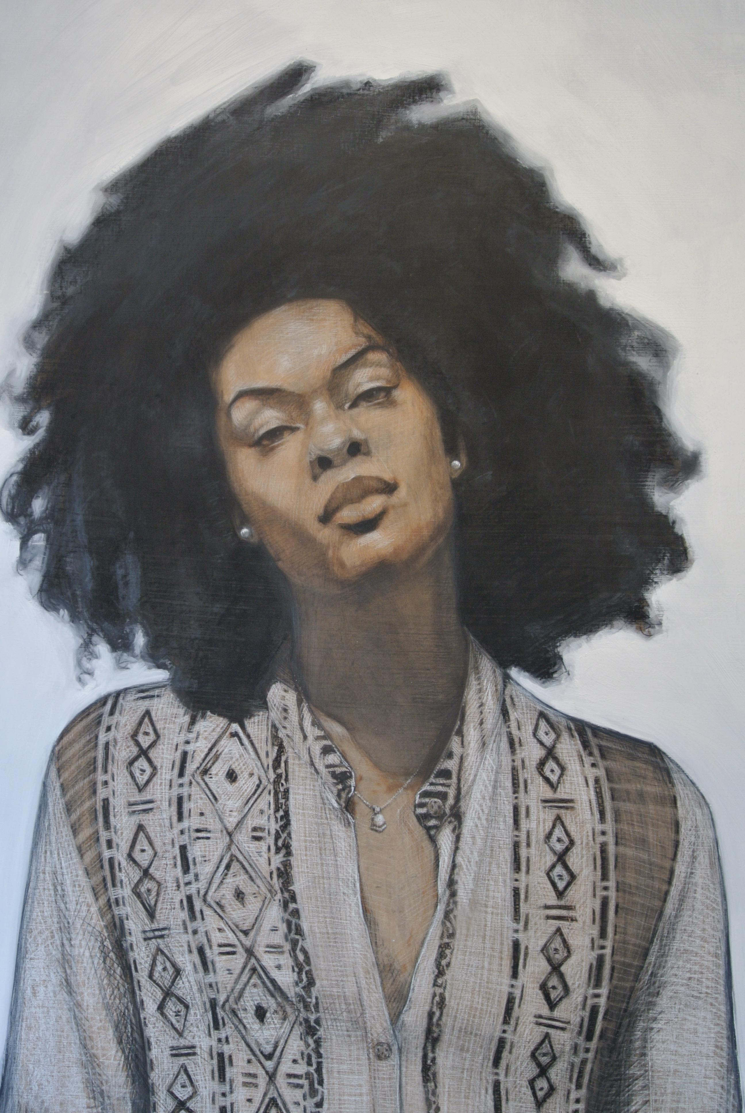 "Erika Oliver, 2015, oil on panel, 72"" x 42"" (detail)"