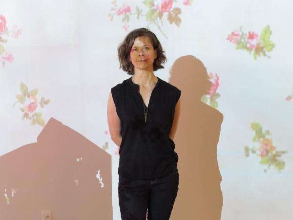Karen Mahaffy in her immersive installation at the Southwest School of Art. Photo: David S. Rubin