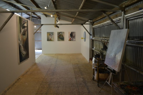 View of studio gallery, works by Rusiloski and Fernandez