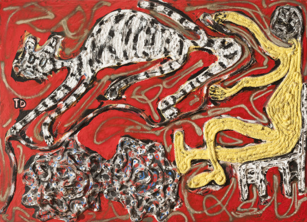 Thornton Dial, Tiger on the Run, 1992. Oil paint, spray paint, rope, and rubber on canvas, 56 × 78 3/8 × 4 3/4 inches. The Menil Collection, Houston, Promised gift of Stephanie and John Smither.
