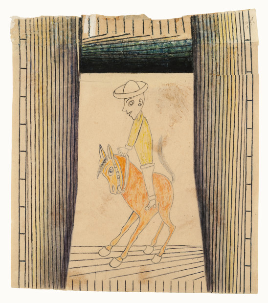 Martín Ramírez, Untitled (Horse and Rider), ca. 1953. Crayon and graphite on pieced paper, 27 5/8 × 24 inches. The Menil Collection, Houston, Promised gift of Stephanie and John Smither. © Estate of Martín Ramírez, courtesy of Ricco/Maresca Gallery