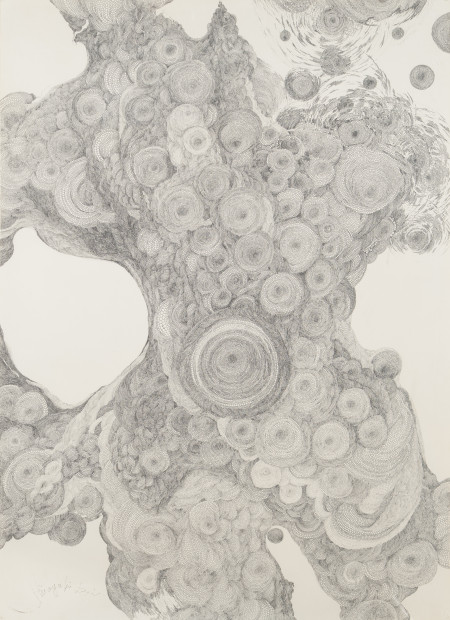 Hiroyuki Doi, Untitled, 1985. Ink on paper, 42 7/8 × 31 1/4 inches. Collection of Paige and Todd Johnson. © Hiroyuki Doi, courtesy of Ricco/Maresca Gallery