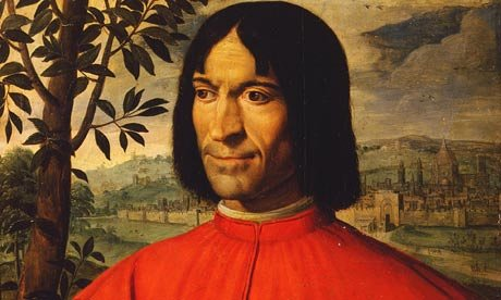 Image: Detail of Macchietti's painting of Lorenzo (the Magnificent) de' Medici.