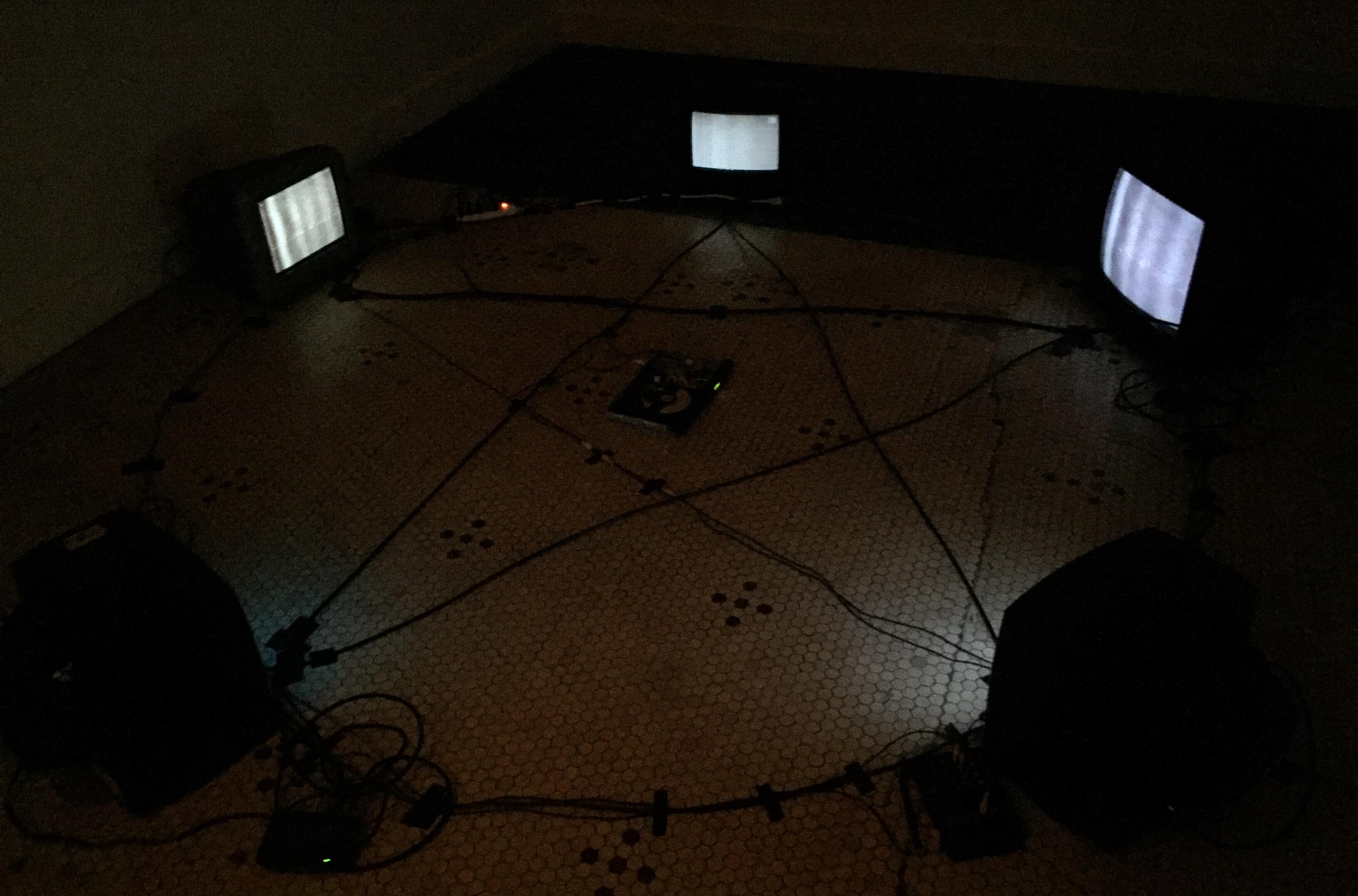 Magic Circle, 2016. Televisions, digital video.