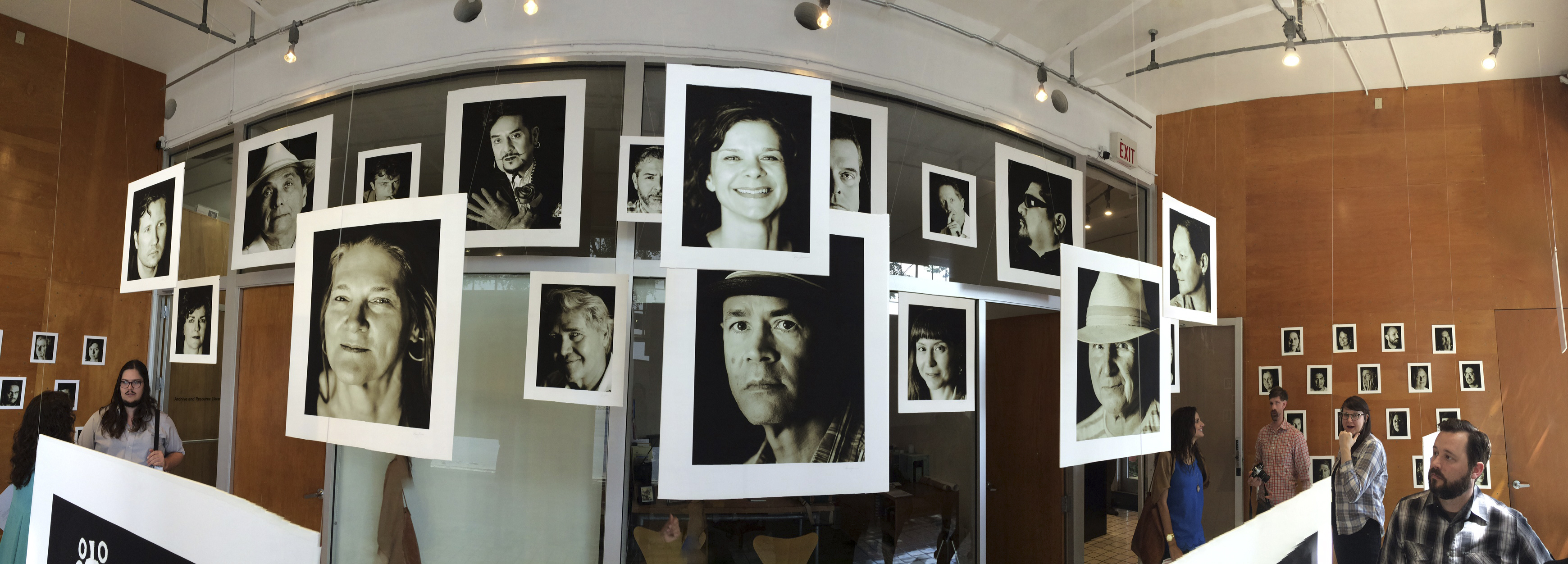 Faces of Artpace, 2016, panoramic view of installation at Artpace Window Works