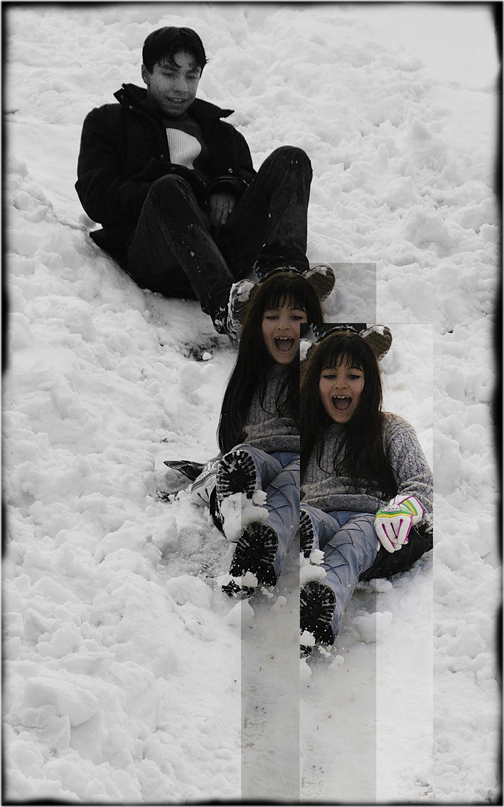 Boy and Girl Sledding, 2005, digital print, 20 x 14 in.