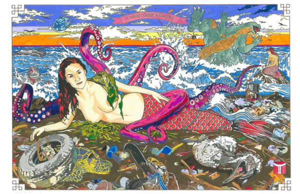 "Jave Yoshimoto, Venus of Trash Isle, hand-colored seriography on paper, 11"" x 17"""