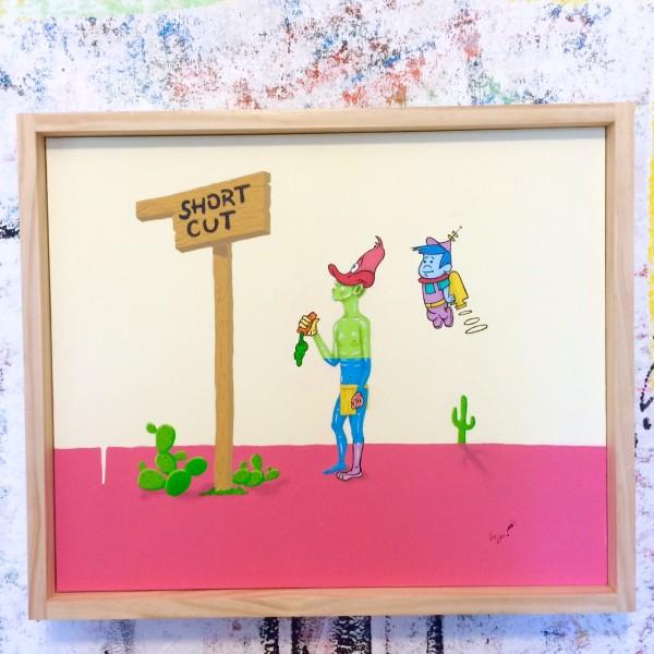 """Drigo, Short Cut, acrylic, spray paint, gouache, 24"""" x 30"""""""