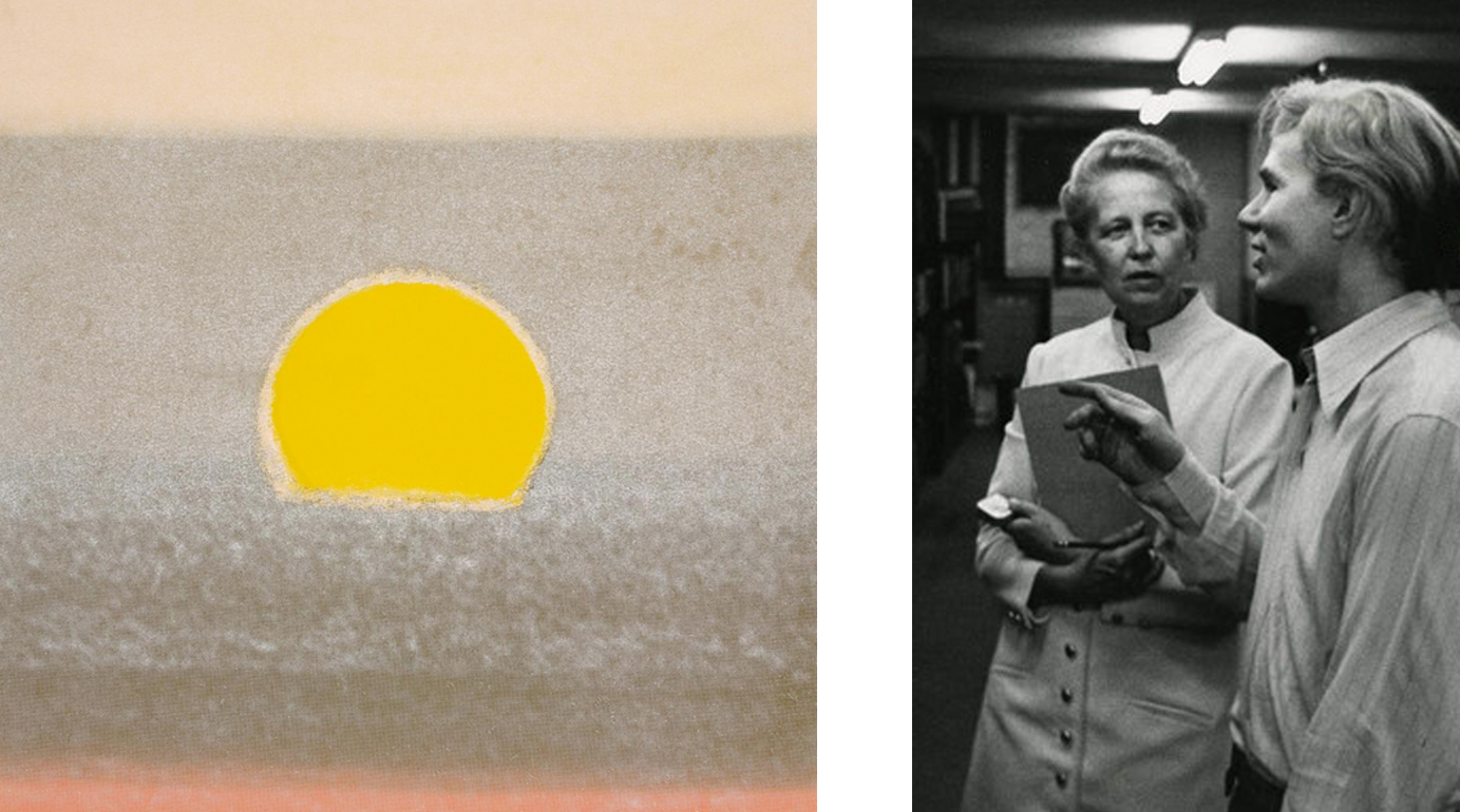 One of Warhol's Sunset prints, 1972. R: Warhol and Dominique, 1969