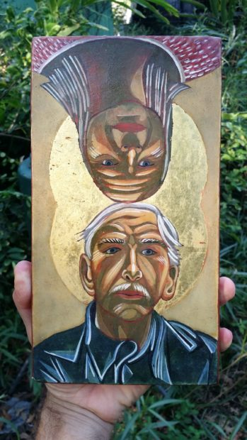 "(2006). Tempera and gold leaf on wood. 5.5""×10.5"" Nestor Topchy 2006"