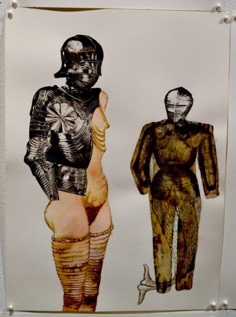 Armour Drawings detail, 1991-1994, watercolor, ink on paper