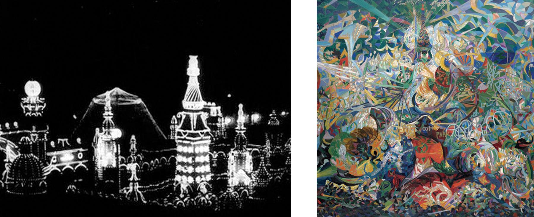 Two depictions of Luna Park. L: Film still, Coney Island at Night, 1905. Camera: Edwin S. Porter, The Edison Manufacturing Company. R: Joseph Stella, Battle of Lights, Coney Island, Mardi Gras, 1913-1914. Oil on canvas, 77 x 84 3/4 in. Yale University Art Gallery, New Haven, CT
