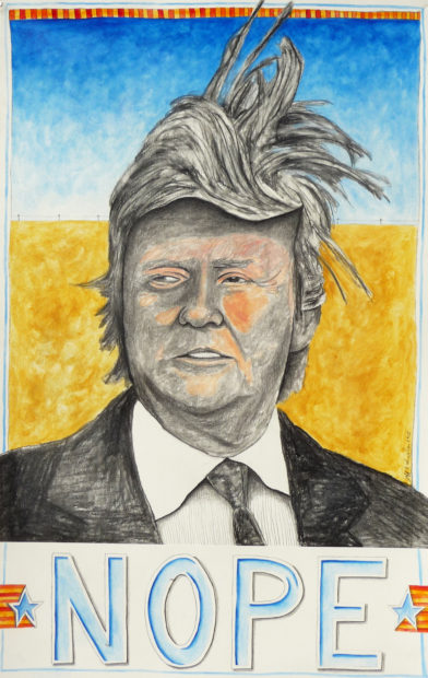 """Jeff F. Wheeler, NOPE, oil/charcoal on paper, 18"""" x 30"""""""