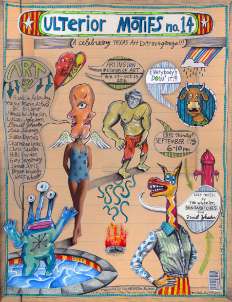 Exhibition poster designed by Jeffrey F Wheeler and Daniel Johnston.