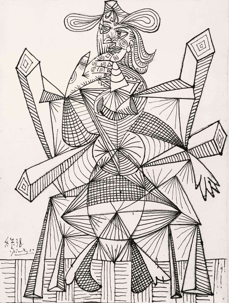Woman Sitting in a Chair (Dora), April 7, 1938. Ink on paper, 25 5/8 x 19 3/4 in.