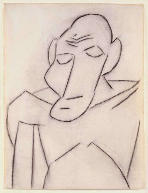 Sketch of Andre Salmon, 1907. Charcoal on paper, 24 3/4 x— 18 3/4 in. 2016 Estate of Pablo Picasso / Artists Rights Society (ARS), New York