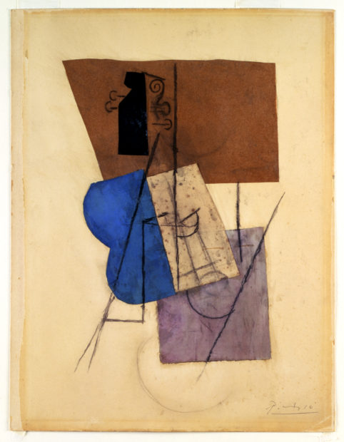 Pablo Picasso, Violin on a Table (Violon sur une table), 1912. Watercolor, charcoal, and paper on paperboard, 24 1/2 × 18 1/4 in. (62.2 × 46.4 cm). The Menil Collection, Houston. © 2016 Estate of Pablo Picasso / Artists Rights Society (ARS), New York