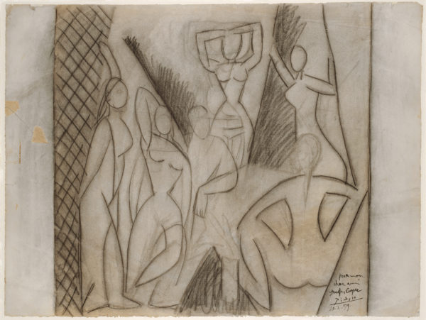 """Pablo Picasso, Study for """"Les Demoiselles d'Avignon"""" (Étude pour """"Les Demoiselles d'Avignon""""), May 1907. Charcoal on paper, 18 3/4 × 25 1/8 in. (47.6 × 63.7 cm). Kunstmuseum Basel, Kupferstichkabinett, inv. no. 1984.494, Gift of Douglas Cooper, Paris, 1984. © 2016 Estate of Pablo Picasso / Artists Rights Society (ARS), New York"""