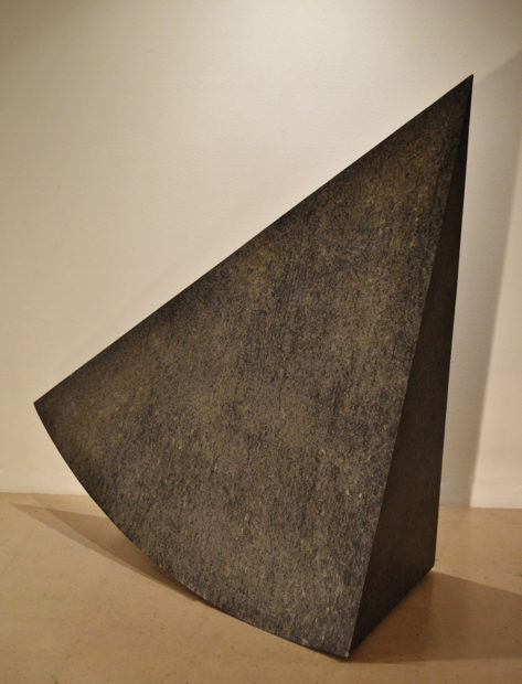 Should have Seen It Coming, 2012/2016, oxidized lead & wood, 55 x 54 x 23.5 in.