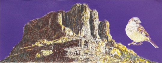 "Bird Mountain, Jim Malone, 9 x 23"", Mixed media"