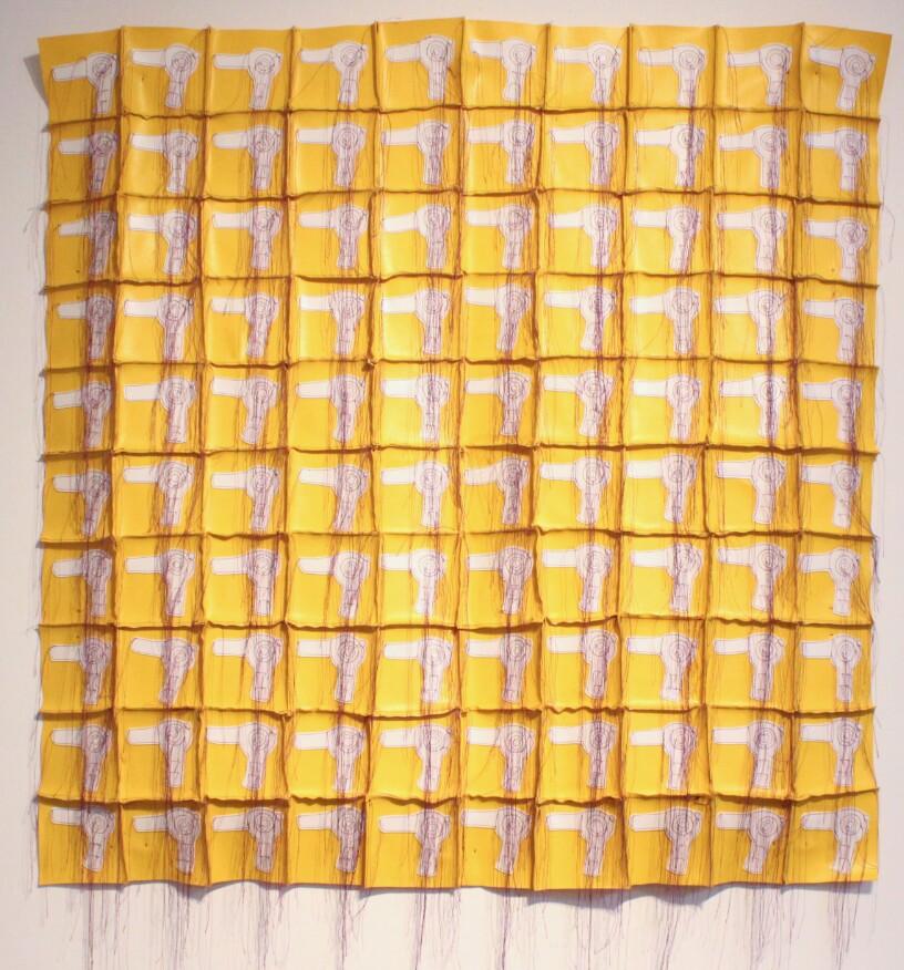 White Blow Dryer Quilt, 2004, vinyl, thread, 36 x 36 in.