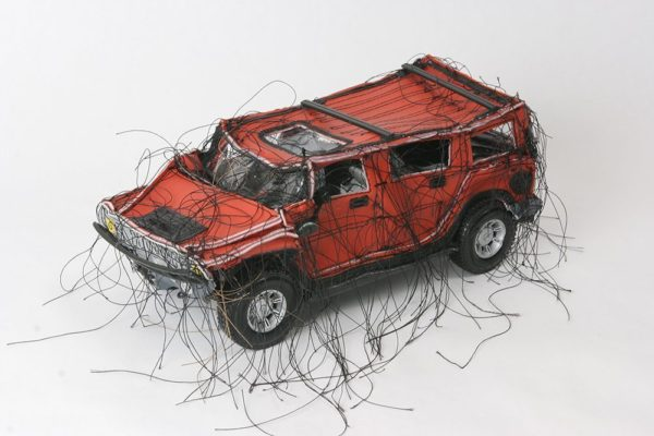 Mini-Hummer (Red MC-104), 2005, vinyl, thread, model parts, 4 1/2 x 10 x 5 in., Courtesy of Ruiz-Healy Art