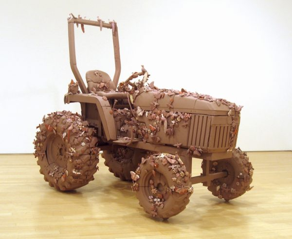 Arbol de Vida, John Deere Model #790, 2007, ceramic, slip paint, steel hardware, 100 x 96 x 60 in.