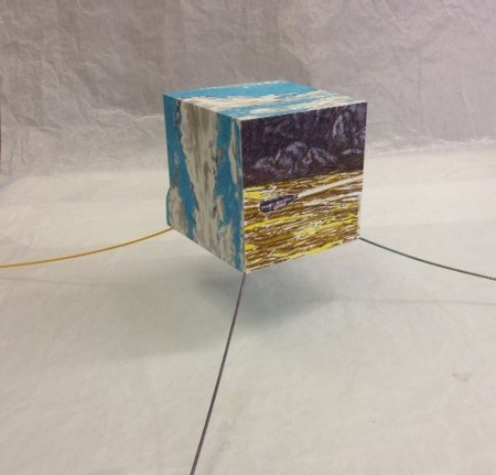 "G.P.S., Jim Malone, 12 x 40 x 40"", Paper, wood,"