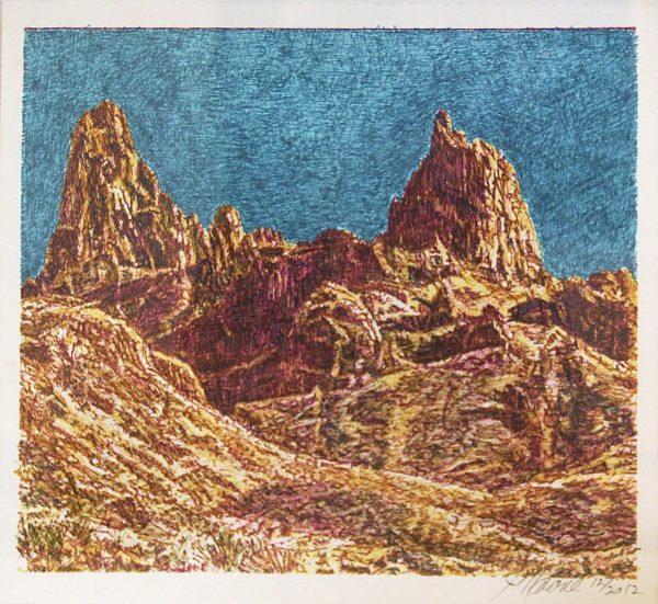 """<Landscape (Mule Ears), Jim Malone, 14 x 15"""", Colored marker"""