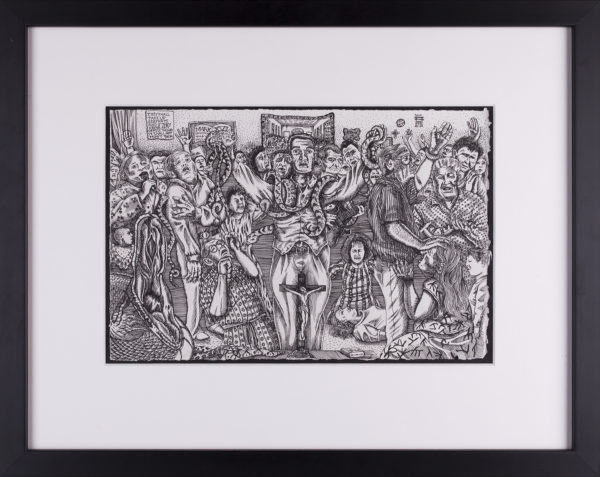 Albert Alvarez, A Serpent Shall Lead Them, 2014, ink on paper, 8 x 11 1/2 in.
