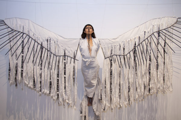 Daniela Riojas, Cuauhtli (Eagle), 2014, performance with mixed-media sculpture
