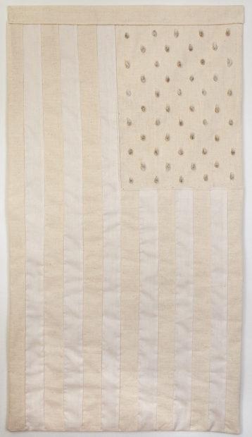 Jenelle Esparza, Meczla (It Mixes), 2016, raw cotton fabric, cotton thread, cotton seeds, 32 x 18 in.