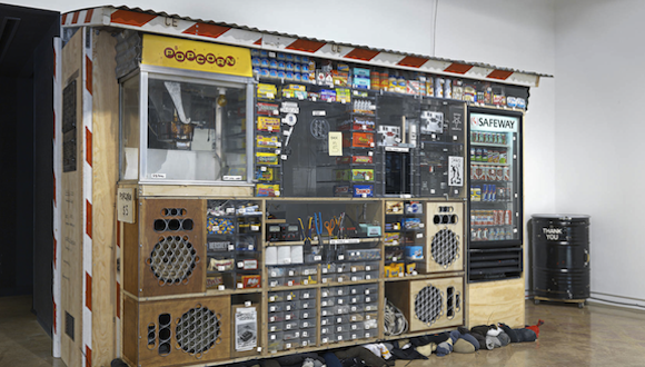 Tom Sachs, Bodega, 2014. Mixed media. Installation view, Tom Sachs: Boombox Retrospective 1999–2015, The Contemporary Austin – Jones Center, Austin, during the 2015 SXSW. Courtesy Tom Sachs Studio. Photograph by Genevieve Hanson.