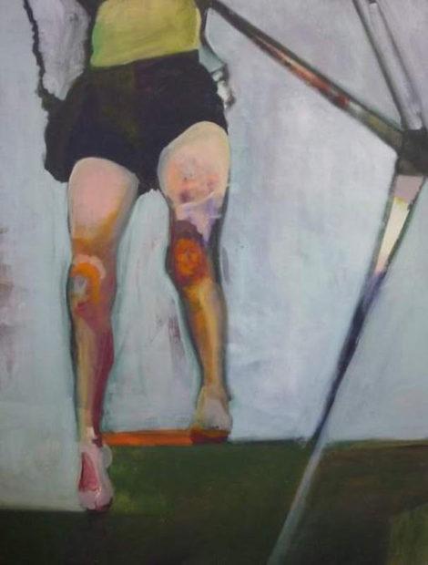 "Ariel Davis, Country Swing (Sarah's Legs), 2012, oil on canvas, 36"" x 48"""