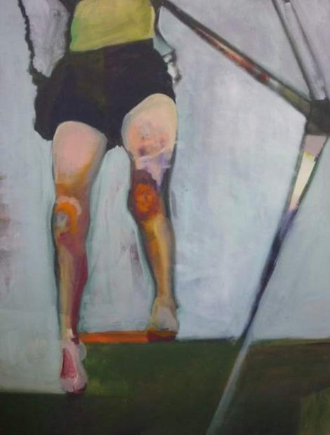 "Ariel Davis, Country Swing (Sarah's Legs), 2012, oil on canvas, 36"" x 48"""