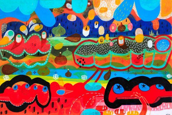 Gerardo Arellano, Seattle, 2011, mixed media on canvas, 23 3/4 x 35 3/4 in., photo: Jenelle Esparza
