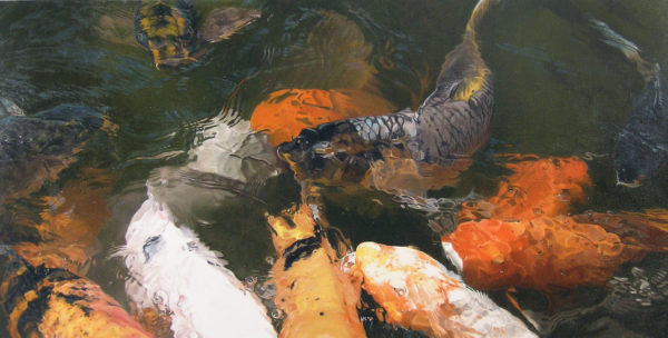 "Cynthia Lewis, Koi Series #1, 2014, oil on canvas, 18""x36"""