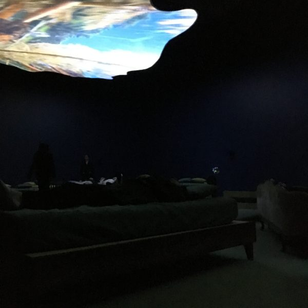 My friend Tere on a bed looking up at a 2016 video projection by Pipilotti Rist.