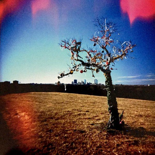 "Lou Chapman, Memorial Tree Along I-30 Near Downtown, 2010, archival inkjet print from Holga camera negative, 26""x24"""