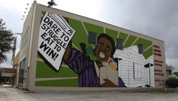 The People's Plate Mural, 2015. Acrylic on wall. © Otabenga Jones & Associates. Photo: Lawndale Art Center