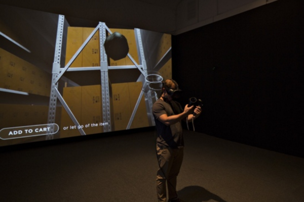 Installation view of Ditherer, 2016 HTC Vive VR headset, virtual reality experience Courtesy the artists and Ballroom Marfa