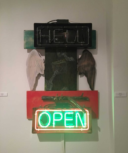 Purgatory, 2012, acrylic on canvas, neon signs, branch and. birds' feet