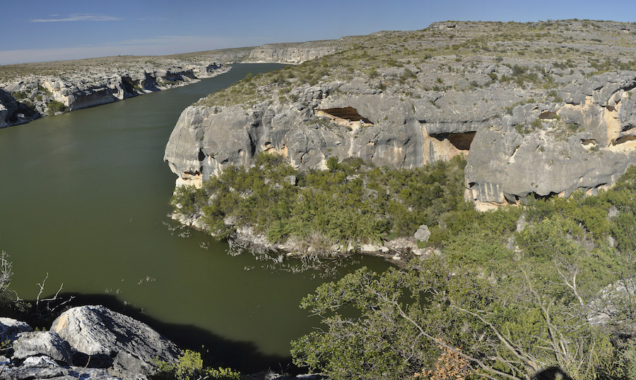 View of the Pecos River and White Shaman Shelter from across the canyon.