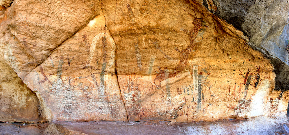 The polychromatic Pecos River style mural at the White Shaman site is approximately 26 feet long and 13 feet high.