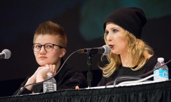Sasha Bogino and Masha Alyokhina. Image by Leah Voskuil via The Daily Cardinal