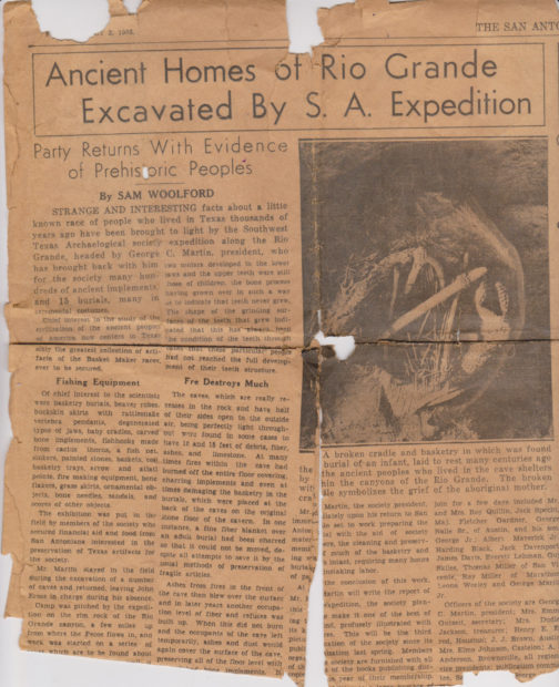 """This 1933 newspaper report on an archaeological expedition to the Lower Pecos was """"excavated"""" by Gene Fowler from a Depression-era scrapbook."""